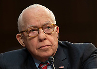 Michael B. Mukasey, former United States Attorney General participates in a confirmation hearing of William Barr to be the United States Attorney General, hearing held by the Senate Judiciary Committee, January 16, 2019, on Capitol Hill in Washington, DC. Credit: Chris Kleponis / CNP /MediaPunch