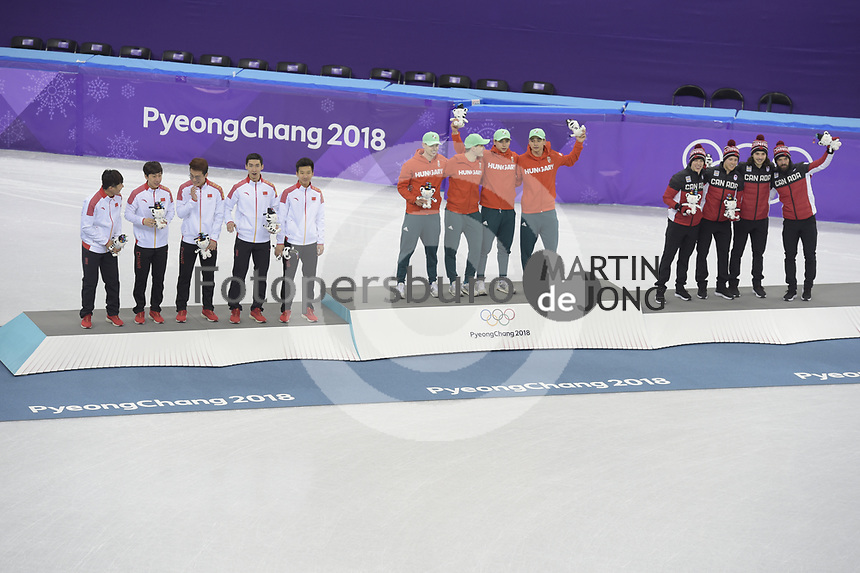 OLYMPIC GAMES: PYEONGCHANG: 22-02-2018, Gangneung Ice Arena, Short Track, Final results Relay Men, Team China, Team Hungary, Team Canada, ©photo Martin de Jong