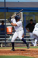 New York Yankees third baseman Dermis Garcia (49) at bat during an Instructional League game against the Baltimore Orioles on September 23, 2017 at the Yankees Minor League Complex in Tampa, Florida.  (Mike Janes/Four Seam Images)
