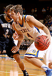 BROOKINGS, SD - OCTOBER 29:  Jake Bittle #4 from South Dakota State drives against Philip Schanilec #3 from South Dakota School of Mines in the first half of their exhibition game Thursday night at Frost Arena in Brookings. (Photo by Dave Eggen/Inertia)