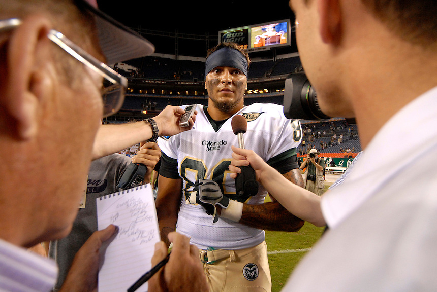 31 Aug 2008: Colorado State tight end Kory Sperry talks with reporters after a game against Colorado. The Colorado Buffaloes defeated the Colorado State Rams 38-17 at Invesco Field at Mile High in Denver, Colorado. FOR EDITORIAL USE ONLY