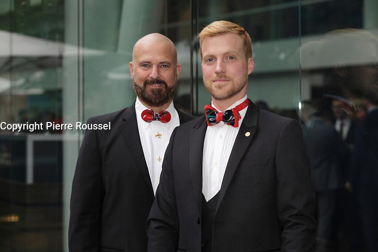 Danniel Oickle, designer ,GUILLOTINE et Yves Therien <br />  au Gala Phenicia de la Chambre de Commerce LGBT du Qu&eacute;bec, tenu au Parquet de la Caisse de Depots et Placements du Quebec, jeudi, 26 mai 2016.<br /> <br /> <br /> PHOTO : Pierre Roussel -  Agence Quebec Presse