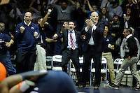 STATE COLLEGE, PA -DECEMBER 19: Head coach Cael Sanderson of the Penn State Nittany Lions reacts after his team beat the Virginia Tech Hokies on December 19, 2014 at Recreation Hall on the campus of Penn State University in State College, Pennsylvania. Penn State won 20-15. (Photo by Hunter Martin/Getty Images) *** Local Caption *** Cael Sanderson