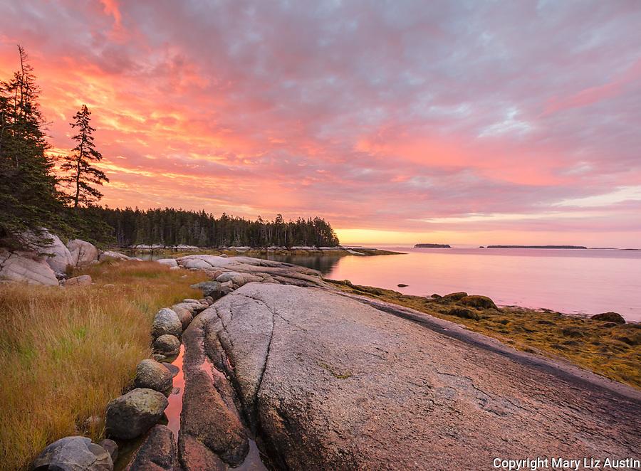 Deer Isle, Maine: Colorful sunrise on the shoreline of Jericho Bay