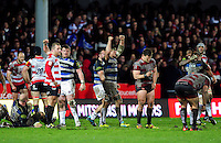 David Wilson and Francois Louw of Bath Rugby celebrate at the final whistle. Aviva Premiership match, between Gloucester Rugby and Bath Rugby on March 26, 2016 at Kingsholm Stadium in Gloucester, England. Photo by: Patrick Khachfe / Onside Images
