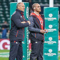 Red Roses Head Coach Simon Middleton and Strength and Conditioning Coach Luke Woodhouse while the team warm up, England v Argentina in an Old Mutual Wealth Series, Autumn International match at Twickenham Stadium, London, England, on 26th November 2016. Full Time score 27-14