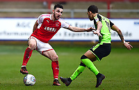 Fleetwood Town's Lewis Coyle competes with Plymouth Argyle's Ruben Lameiras<br /> <br /> Photographer Richard Martin-Roberts/CameraSport<br /> <br /> The EFL Sky Bet League One - Fleetwood Town v Plymouth Argyle - Saturday 10th March 2018 - Highbury Stadium - Fleetwood<br /> <br /> World Copyright &not;&copy; 2018 CameraSport. All rights reserved. 43 Linden Ave. Countesthorpe. Leicester. England. LE8 5PG - Tel: +44 (0) 116 277 4147 - admin@camerasport.com - www.camerasport.com