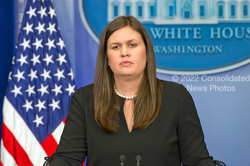 Principal Deputy White House Press Secretary Sarah Huckabee Sanders conducts the Daily Briefing in the Brady Press Briefing Room at the White House in Washington, DC on Monday, July 10, 2017.  This briefing was held off camera, meaning it could not be broadcast either by radio or TV.<br /> Credit: Ron Sachs / CNP