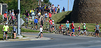 NWA Democrat-Gazette/BEN GOFF @NWABENGOFF<br /> Riders cross W. Stoney Brook Rd. on Saturday Sept. 12, 2015 as the Square to Square Bicycle Fun Ride makes its way through Rogers on the Razorback Regional Greenway. Cyclists of all ability levels rode roughly 30 miles of the trail from downtown Bentonville to downtown Fayetteville.