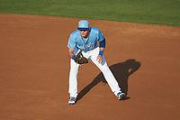 Burlington Royals first baseman Vinnie Pasquantino (33) on defense against the Danville Braves at Burlington Athletic Stadium on August 9, 2019 in Burlington, North Carolina. The Royals defeated the Braves 6-0. (Brian Westerholt/Four Seam Images)