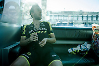 post-race candy for Simon Yates (GBR/Mitchelton-Scott)<br /> <br /> Stage 6: Peynier to Brignoles (176km)<br /> 77th Paris - Nice 2019 (2.UWT)<br /> <br /> ©kramon