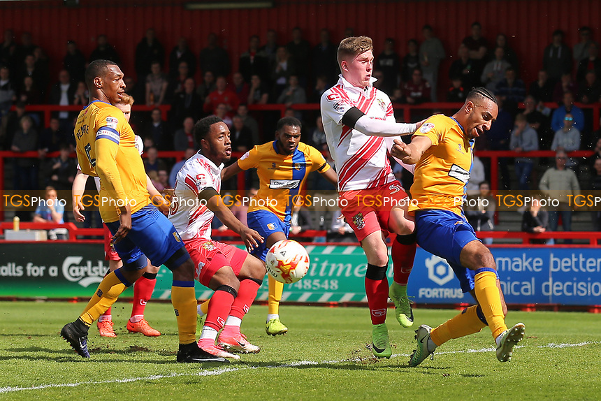 Mark McKee of Stevenage goes close during Stevenage vs Mansfield Town, Sky Bet EFL League 2 Football at the Lamex Stadium on 22nd April 2017