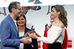 "Queen Letizia of Spain with Roberto Aliaga Sanchez, writer of 'Como arreglar un libro mojado - How to Fix a Wet Book', winner in the Children category of the SM Prizes for Children and Youth Literature ""El Barco de Vapor"" and ""Gran Angular"". April 18, 2017. (ALTERPHOTOS/Acero)"