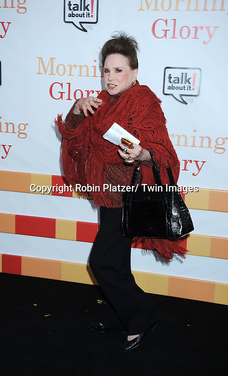 "Cindy Adams attending the World Premiere of "" Morning Glory"" starring Harrison Ford, Diane Keaton and Rachel McAdams on November 7, 2010 at The Ziegfeld Theatre in New York City."