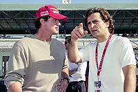 Sylvester Stallone , L, talks with Alex Zanardi, Marlboro Grand Prix of Miami, CART race, March 26, 2000.  (Photo by Brian Cleary/bcpix.com)