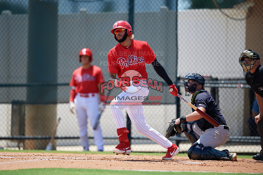 GCL Phillies West Jose Pujols (23) bats during a Gulf Coast League game against the GCL Yankees East on August 3, 2019 at the Carpenter Complex in Clearwater, Florida.  The GCL Yankees East defeated the GCL Phillies West 4-0, the second game of a doubleheader.  (Mike Janes/Four Seam Images)