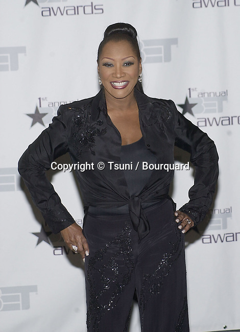 Patti Labelle  posing backstage at The first BET  - Black Entertainment Television - Awards at the Paris Hotel in Las Vegas. The show didn't  run from Los Angeles but from Las Vegas.  June 19, 2001 © Tsuni          -            LabellePatti11.jpg