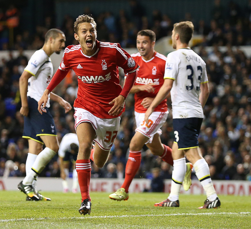 Nottingham Forest's Jorge Grant scores the opening goal  <br /> <br /> Photographer Kieran Galvin /CameraSport<br /> <br /> Football - Capital One Cup Third Round - Tottenham Hotspur v Nottingham Forest - Wednesday 24th September 2014 - White Hart Lane - London<br />  <br /> &copy; CameraSport - 43 Linden Ave. Countesthorpe. Leicester. England. LE8 5PG - Tel: +44 (0) 116 277 4147 - admin@camerasport.com - www.camerasport.com