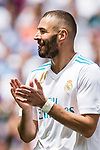 Karim Benzema of Real Madrid reacts during the La Liga match between Real Madrid and Levante UD at the Estadio Santiago Bernabeu on 09 September 2017 in Madrid, Spain. Photo by Diego Gonzalez / Power Sport Images