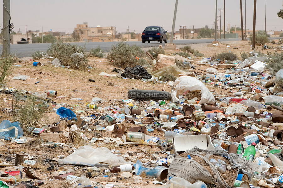 Bir al-Ghanem, south of Tripoli, Libya - Trash Alongside Libyan Roadways is Common