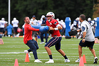 August 1, 2018: New England Patriots quarterback Brian Hoyer (2) works through a drill at the New England Patriots training camp held on the practice fields at Gillette Stadium, in Foxborough, Massachusetts. Eric Canha/CSM