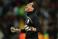Julio Cesar of Brazil celebrates his side's winning goal. Brazil defeated USA 3-2 in the FIFA Confederations Cup Final at Ellis Park Stadium in Johannesburg, South Africa on June 28, 2009.