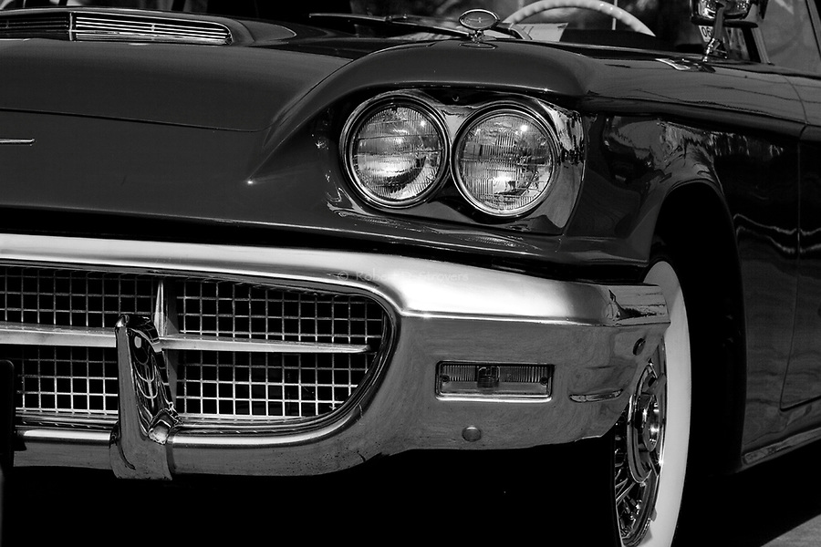 Automotive Detail - Vintage American Cars in Black and White