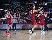 STANFORD, CA - March 2, 2019: Paul Bischoff, Kyler Presho, Eli Wopat,  at Maples Pavilion. The Stanford Cardinal defeated BYU 25-20, 25-20, 22-25, 25-21.