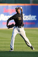 May 3, 2010:  Starting pitcher Aroldis Chapman (51) of the Louisville Bats warms up in the outfield prior to a game vs. the Buffalo Bisons at Coca-Cola Field in Buffalo, NY.   Louisville defeated Buffalo by the score of 20-7, Chapman got the win on the mound.  Photo By Mike Janes/Four Seam Images
