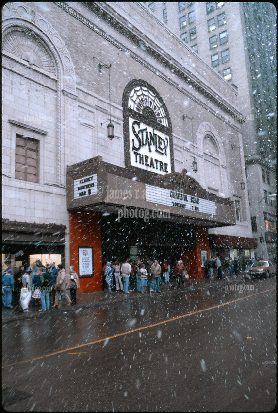 Snow and Deadheads Outside the Stanley Theater in Pittsburgh PA. Before the Grateful Dead Concert on March 5, 1981. Full Slide Scan. Other images in gallery are slices of this image. Image No. 1981-C11-02