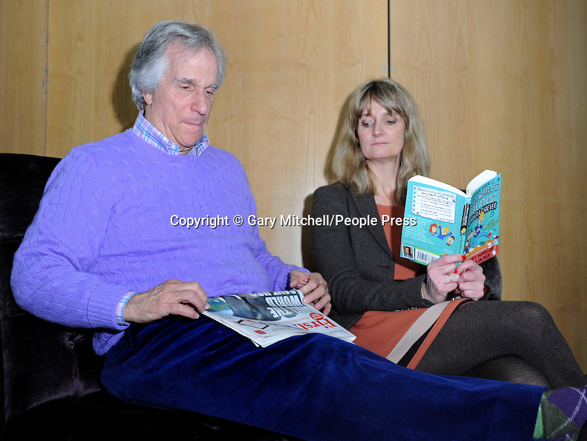 Milton Keynes, UK -  Actor and dyslexic author Henry Winkler - aka 'The Fonz' - meets children from local schools in Milton Keynes. .Henry is touring schools and theatres with Nicky Cox, editor of children's newspaper First News as part of the '2013 First News My Way' campaign, in partnership with Charity, Achievement for All 3As. .Pictured - Henry Winkler and Nicky Cox, Milton Keynes Theatre, Bucks, UK - 8th March 2013..Photo by Gary Mitchell