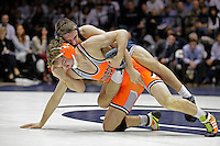 STATE COLLEGE, PA - FEBRUARY 16: Zain Retherford of the Penn State Nittany Lions during a 141 match against Anthony Collica of the Oklahoma State Cowboys on February 16, 2014 at Rec Hall on the campus of Penn State University in State College, Pennsylvania. Penn State won 23-12. (Photo by Hunter Martin/Getty Images) *** Local Caption *** Zain Retherford;Anthony Collica
