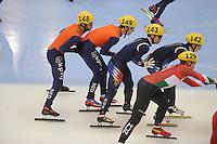 "SHORT TRACK: MOSCOW: Speed Skating Centre ""Krylatskoe"", 15-03-2015, ISU World Short Track Speed Skating Championships 2015, Relay Men, Sjinkie KNEGT (#148 | NED), Mark Prinsen (#149 | NED), ©photo Martin de Jong"