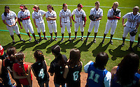 STANFORD, CA - April 2, 2011: The Stanford softball team talks to young softball players before Stanford's game against Arizona at Smith Family Stadium. Stanford lost 6-1.