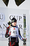 Canadian Nathan Smith stands on the podium at The International Biathlon Union Cup # 7 Men's 10 KM Sprint held at the Canmore Nordic Center in Canmore Alberta, Canada, on Feb 16, 2012. This was Nathan's third win of three sprints held in Canmore.  Two sprints were held the previous weekend in Cup 6. Photo by Gus Curtis.