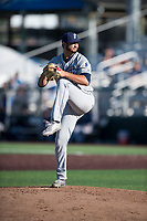 Tri-City Dust Devils relief pitcher Joe Galindo (12) delivers a pitch during a Northwest League game against the Everett AquaSox at Everett Memorial Stadium on September 3, 2018 in Everett, Washington. The Everett AquaSox defeated the Tri-City Dust Devils by a score of 8-3. (Zachary Lucy/Four Seam Images)