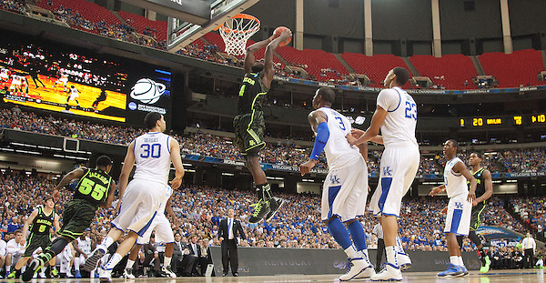 Baylor Bears forward Quincy Acy dunks. Kentucky faced Baylor during the 2012 NCAA Tournament Regional Finals at the Georgia Dome in Atlanta, March 25, 2012. Photo by Derek Poore
