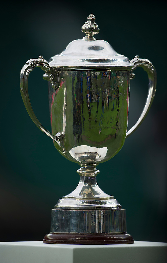 The trophy on display as the teams wait to take to the pitch<br /> <br /> Photographer Ashley Western/CameraSport<br /> <br /> Rugby Union - 2015 Varsity Match - Oxford v Cambridge - Thursday 10th December 2015 - Twickenham - London<br /> <br /> &copy; CameraSport - 43 Linden Ave. Countesthorpe. Leicester. England. LE8 5PG - Tel: +44 (0) 116 277 4147 - admin@camerasport.com - www.camerasport.com
