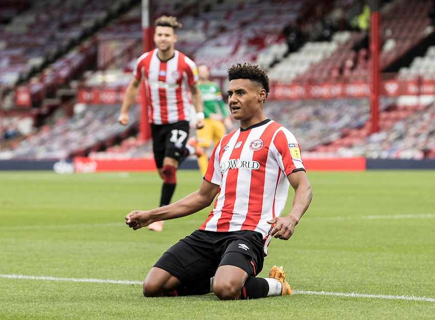 Brentford's Ollie Watkins celebrates scoring his side's first goal <br /> <br /> Photographer Andrew Kearns/CameraSport<br /> <br /> The EFL Sky Bet Championship - Brentford v Preston North End - Wednesday 15th July 2020 - Griffin Park - Brentford <br /> <br /> World Copyright © 2020 CameraSport. All rights reserved. 43 Linden Ave. Countesthorpe. Leicester. England. LE8 5PG - Tel: +44 (0) 116 277 4147 - admin@camerasport.com - www.camerasport.com