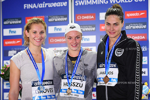 (L-R) Madeline Groves (AUS), Katinka Hosszu, Zsuzsanna Jakabos (HUN), <br /> OCTOBER 26, 2016 - Swimming : FINA Swimming World Cup Tokyo <br /> Women's 200m Butterfly Award Ceremony <br /> at Tatsumi International Swimming Pool, Tokyo, Japan. <br /> (Photo by AFLO SPORT)