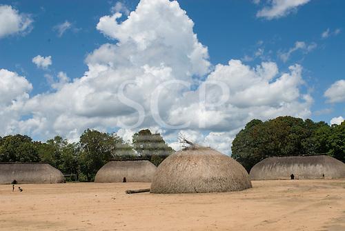 Xingu Indigenous Park, Mato Grosso State, Brazil. Aldeia Kamaiura. Village of traditional oca thatched houses.