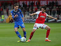 Fleetwood Town's Markus Schwabl competing with Carlisle United's Jamie Devitt  <br /> <br /> Photographer Andrew Kearns/CameraSport<br /> <br /> The Carabao Cup First Round - Fleetwood Town v Carlisle United Kingdom - Tuesday 8th August 2017 - Highbury Stadium - Fleetwood<br />  <br /> World Copyright &copy; 2017 CameraSport. All rights reserved. 43 Linden Ave. Countesthorpe. Leicester. England. LE8 5PG - Tel: +44 (0) 116 277 4147 - admin@camerasport.com - www.camerasport.com