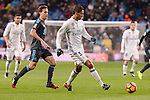 Real Madrid's Raphael Varane and Real Sociedad's Sergio Canales during La Liga match between Real Madrid and Real Sociedad at Santiago Bernabeu Stadium in Madrid, Spain. January 29, 2017. (ALTERPHOTOS/BorjaB.Hojas)