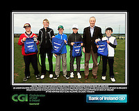 Royal Tara Golf Club boys With Kate Wright CGI and Brendan Byrne Bank of Ireland.<br /> Junior golfers from across Leinster practicing their skills at the regional finals of the Dubai Duty Free Irish Open Skills Challenge supported by Bank of Ireland at the Heritage Golf Club, Killinard, Co Laois. 2/04/2016.<br /> Picture: Golffile | Fran Caffrey<br /> <br /> <br /> All photo usage must carry mandatory copyright credit (© Golffile | Fran Caffrey)