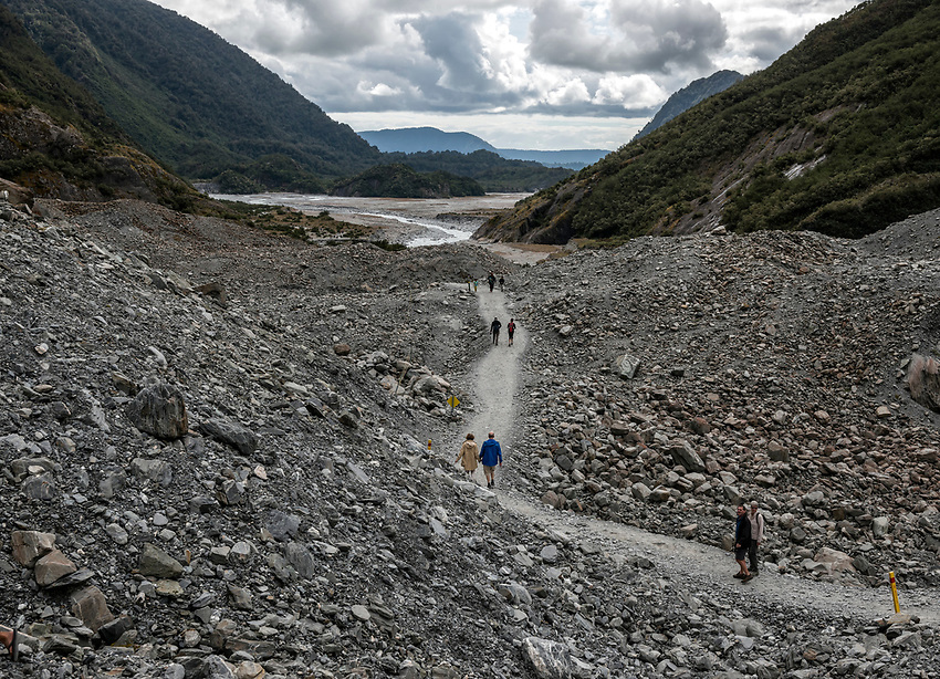 A look back up the Waiho River Valley from the top of a terminal moraine left by the Franz Josef Glacier
