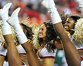 Washington Redskins cheerleaders perform during the break for the 2 minute warning in the second quarter against the Buffalo Bills at FedEx Field in Landover, Maryland on Friday, August 13, 2010.  The Redskins won the game 42 - 17..Credit: Ron Sachs / CNP.