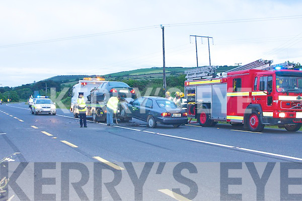 LMonday evening a two car collision took place on the main Listowel to Tralee road were Gardai from Listowel and two Firebrigade from Listowel attended the accident.....   Copyright Kerry's Eye 2008