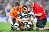 Picture by Allan McKenzie/SWpix.com - 19/04/2018 - Rugby League - Betfred Super League - Hull FC v Leeds Rhinos - KC Stadium, Kingston upon Hull, England - Hull FC's Mickey Paea is attended to after injury.
