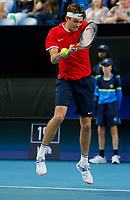 7th January 2020; RAC Arena, Perth, Western Australia; ATP Cup Australia, Perth, Day 5; USA versus Italy; Taylor Fritz of the USA plays a backhand shot from the baseline against Stefano Travaglia of Italy - Editorial Use