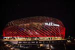 Stockholm 2014-07-31 Fotboll Europa League IF Brommapojkarna - Torino FC :  <br /> Tele2 Arena med fasad i r&ouml;d belysning efter matchen i kvalet till Europa League mellan Brommapojkarna och Torino<br /> (Foto: Kenta J&ouml;nsson) Nyckelord:  BP Brommapojkarna IFB Tele2 Arena Europa League Torino FC TFC Italien Itay utomhus exteri&ouml;r exterior